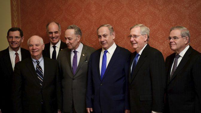 """חברי קונגרס אמריקאים וראש ממשלת ישראל, 16.2.17 (צילום: אבי אוחיון, לע""""מ)"""