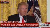 """""""ההדלפות אמיתיות, החדשות מזויפות"""" - דונלד טראמפ, 2017 (צילום מסך מתוך שידורי NBC)"""