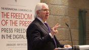 קרל ברנסטיין, כנס חופש העיתונות של מועדון העיתונאים בירושלים, 9.5.17 (צילום: מיכל פתאל)