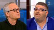"""היחצן רני רהב (מימין) ומקים הדף """"סטטוסים מצייצים"""" אבי לן, בעימות בתוכנית """"פגוש את העיתונות"""" (צילום מסך)"""