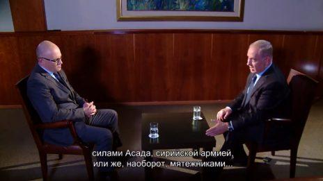 דימיטרי דובוב, ראש חטיבת החדשות של ערוץ 9, מראיין את ראש הממשלה בנימין נתניהו (צילום מסך)