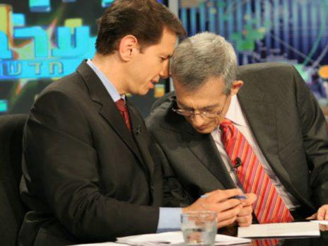 """רונן ברגמן ודן מרגלית באולפן """"ערב חדש"""" של הטלוויזיה החינוכית (צילום: שי אוקנין)"""