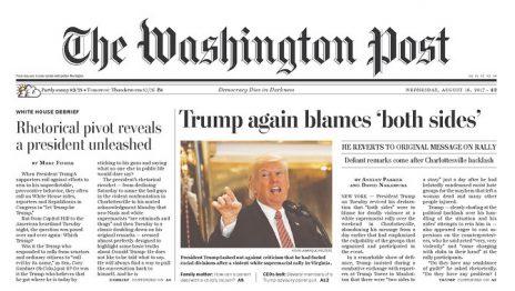"""""""וושינגטון פוסט"""": טראמפ שוב מאשים את שני הצדדים"""